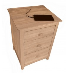 [18 Inch] Lancaster 3 Drawer Nightstand with Power Strip