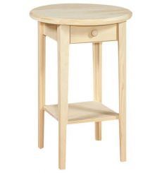 [20 Inch] White Horse Round Side Table