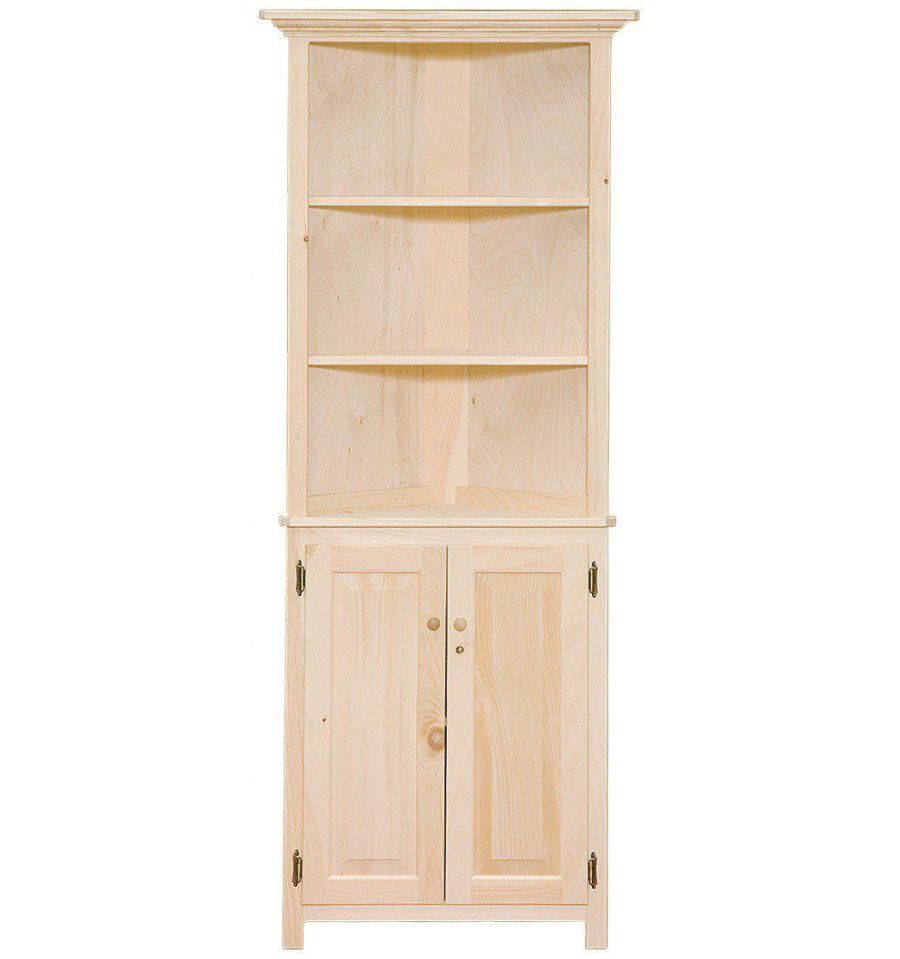 26 inch corner hutch doors burr 39 s unfinished for Unpainted furniture